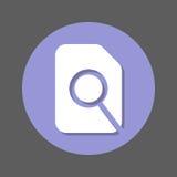 Sök i plan symbol för mapp, för förstoringsglas och för dokument Rund färgrik knapp, runt vektortecken med skuggaeffekt stock illustrationer