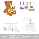 Sök ordet BJÖRN Uppgift och svar stock illustrationer
