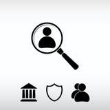 Söka efter anställd sök symbolen, vektorillustration Plant D Fotografering för Bildbyråer