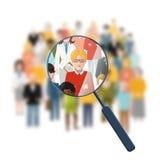 Söka efter en person i folkmassan stock illustrationer