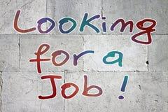 Söka efter ett jobb som är skriftligt på stenväggen royaltyfri bild
