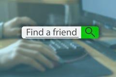 Söka fliken överst av begreppsbilden med ord för att finna en vän V arkivfoto
