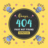 Söka inte funnit, vektorillustrationen för 404 fel royaltyfri illustrationer