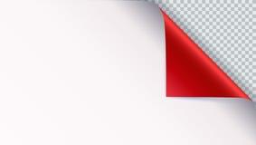 Söka krullningen med skugga på det tomma arket av papper Vektor krullat hörn av vitbok med skugga Närbild som isoleras på stock illustrationer