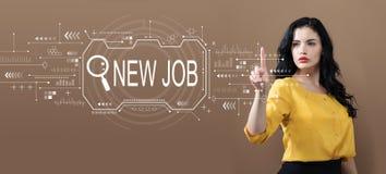 Sökande av nytt jobbtema med affärskvinnan royaltyfria bilder