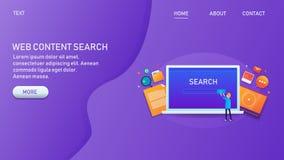 Sökande för rengöringsdukinnehåll, optimerat innehåll för sökandemotorer, innehåll för användaresökande på bärbara datorn, seo, d royaltyfri illustrationer