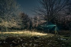 Sökande med ficklampan i natur Fotografering för Bildbyråer