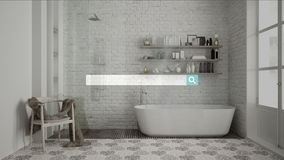 Sökande som bläddrar, information om internetdata, över klassiskt badrum för tappning med duschen arkivfoton