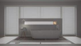 Sökande som bläddrar, information om internetdata, över minimalist vitt badrum med fönstret royaltyfri fotografi