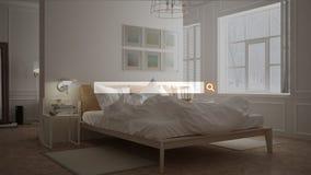 Sökande som bläddrar, information om internetdata, över scandinavian klassiskt sovrum med säng royaltyfri illustrationer
