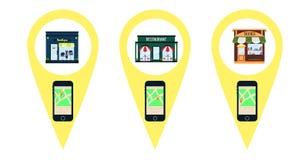 Sökandemobilnavigatör vid närhet till restauranger vektor illustrationer