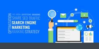 Sökandemotormarknadsföring - ordmolnbegrepp Betald digital advertizing - PPC Digitalt marknadsföringsbaner för plan design stock illustrationer