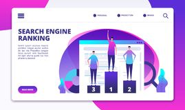 Sökandemotorrang Seo marknadsföringsstrategi och websiteoptimization Framgångonline-affär som landar vektorsidan stock illustrationer