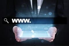 Sökandestång med www text Webbplats URL Digital marknadsföring Arkivbilder