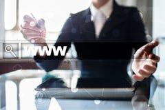 Sökandestång med www text Webbplats URL Digital marknadsföring Arkivbild