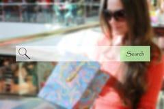 Sökandestång på suddiga bakgrundsshoppingunga flickor royaltyfri bild