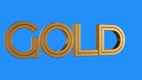 Sömlös ögla för guld- guld- ordsnurranimering på blå bakgrund - animerad ny kvalitets- unik finansiell affär stock video