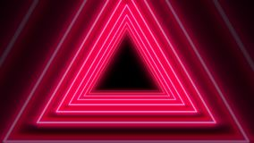 Sömlös ögla för härlig abstrakt röd animering för neontriangelbakgrund 4K royaltyfri illustrationer