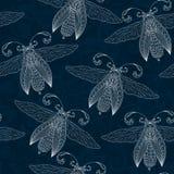 Sömlös abstrakt bakgrund med fjärilar, Henna Mehendi Tat Royaltyfri Bild