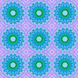 Sömlös abstrakt begreppblått blomstrar med gräsplan och lilor Arkivfoto