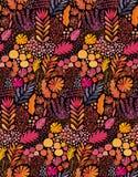 Sömlös abstrakt botanisk etnisk målning för vektorvattenfärg Konstnärligt handgjort batiktryck, blom- orientalisk textil stock illustrationer