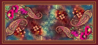 S?ml?s abstrakt digital bakgrundstulpanblomma med h?rliga paisley stock illustrationer
