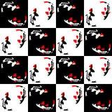 Sömlös abstrakt geometrisk modell på en schackbakgrund med fisken vektor illustrationer