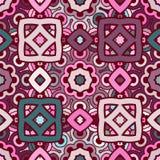 Sömlös abstrakt kalejdoskopmodell för vektor i violet, turkos och rosiga färger Royaltyfria Bilder