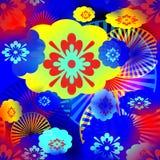 Sömlös abstrakt modell av mångfärgade beståndsdelar royaltyfri illustrationer
