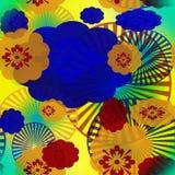 Sömlös abstrakt modell av mångfärgade beståndsdelar vektor illustrationer