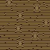 Sömlös abstrakt modell med ögon och olika linjer Royaltyfri Bild