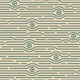 Sömlös abstrakt modell med ögon och olika linjer Arkivbild