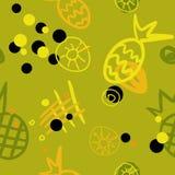 Sömlös abstrakt modell med ananaskontur royaltyfri illustrationer