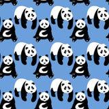 Sömlös abstrakt modell med hand-drog gulliga pandor Arkivbilder