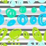 sömlös abstrakt modell med mångfärgade fläckar och band vektor illustrationer