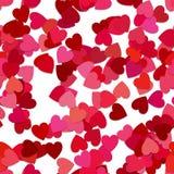 Sömlös abstrakt slumpmässig hjärtamodellbakgrund - vektordiagram från roterande röda hjärtor Royaltyfria Bilder