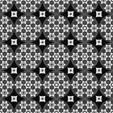 Sömlös abstrakt svart bakgrund med vita geometriska former stock illustrationer