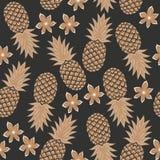 Sömlös ananasmodell med blommor Royaltyfri Foto