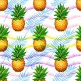 Sömlös ananasmodell Realistisk bakgrund för borste för tecknad filmananors förestående dragen Arkivfoto