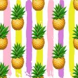 Sömlös ananasmodell Realistisk bakgrund för borste för tecknad filmananors förestående dragen Royaltyfria Bilder
