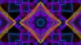 Sömlös animering av abstrakt färg som ändrar den geometriska linjen grafisk mandala för formrörelse eller kalejdoskopgarneringbak vektor illustrationer