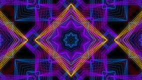 Sömlös animering av abstrakt färgrik geometrisk bakgrund för mandala- eller kalejdoskopgarneringkonst vektor illustrationer