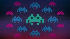Sömlös animering av den gulliga för PIXELutrymme för 8 bit som leken eller dataviruset anfaller din dator PIXELvirus eller spywar lager videofilmer