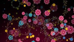 Sömlös animering av det färgrika blommarörelsediagrammet med textur för modell för bakgrund för blommagirlandcirkel i öglan 4k stock illustrationer