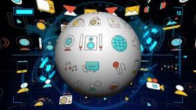 Sömlös animering av globala plana multimedia, socialt massmedia och den digitala marknadsföringssymbolen i världskartabakgrund royaltyfri illustrationer