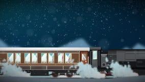 Sömlös animering av tecknad filmdrevspring till och med snöig vinterplatsatmosfär i jultrans.begrepp i öglan 4k royaltyfri illustrationer