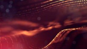sömlös animering 4k med partiklar och djup av fältet, bokeh och ljusa effekter Glödpartikelformen buktar, ytbehandlar stock video