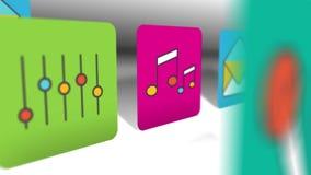 Sömlös animeringlägenhetsymbol av multimedia, socialt massmedia och den fallande bakgrundstiteln för digital marknadsföring stock illustrationer