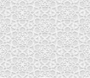 Sömlös arabisk geometrisk modell, 3D vit bakgrund, indisk prydnad vektor illustrationer