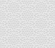 Sömlös arabisk geometrisk modell, 3D vit bakgrund, indisk prydnad royaltyfri illustrationer